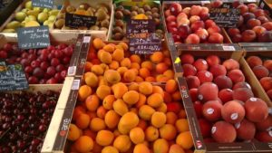 summer fruits at the market in Gavray